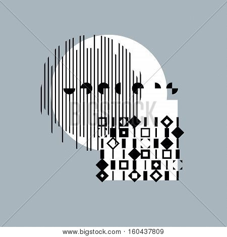 Abstract geometric black and white composition vector background.