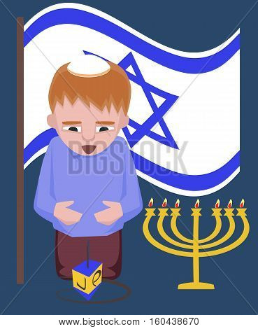 jewish kid with spinning top, hanukkah greetings - vector cartoon illustration