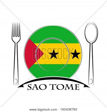 Food logo made from the flag of Sao Tome