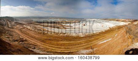 Panorama of chalk quarry mining, Belgorod, Russia