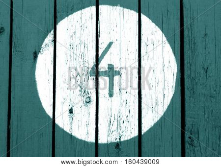 Number Four On Cyan Toned Wooden Wall.