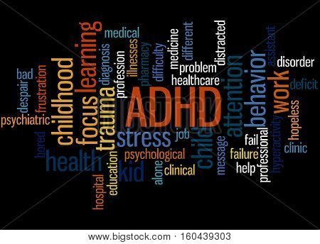 Adhd - Attention-deficit Hyperactivity Disorder, Word Cloud Concept 2