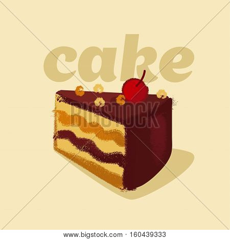 vector illustration of kiddy style sweet tort