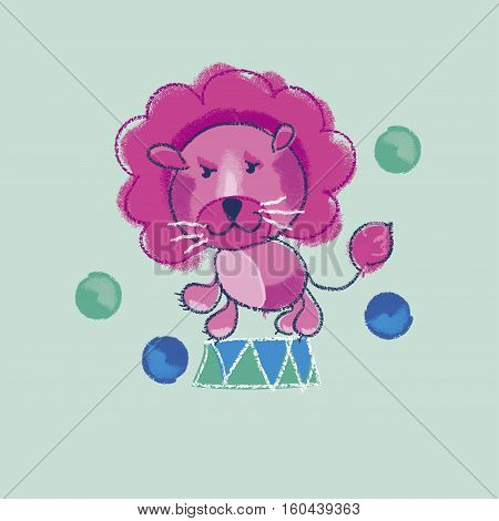 vector illustration of kiddy pink circus lion