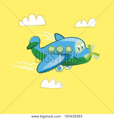 vector illustration of kiddy little plane on yellow background