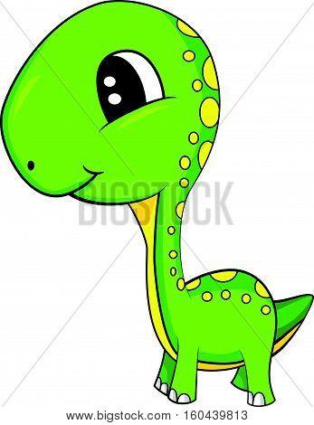 Illustration of Cute Cartoon of Green Baby Brontosaurus Dinosaur. Vector EPS 8.
