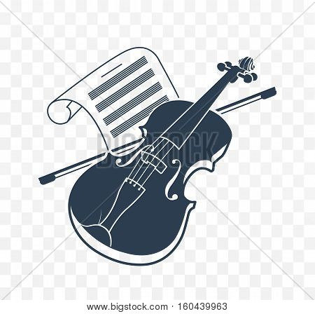 Violin icon and music books. musical instrument