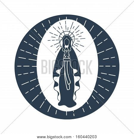 Greeting card. Holiday - Immaculate Conception of the Virgin Mary. Icon in the linear style