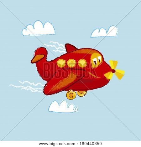 vector illustration of kiddy little red plane