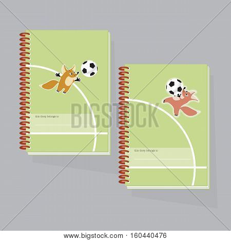 vector illustration of kiddy little fox paling football