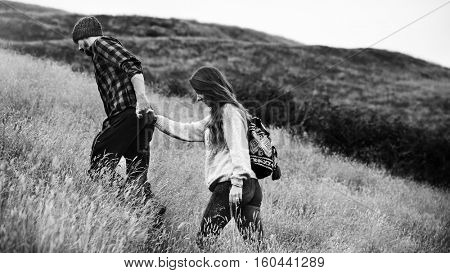 People Holding Hands Walking Mountain Togetherness Hiking Concept