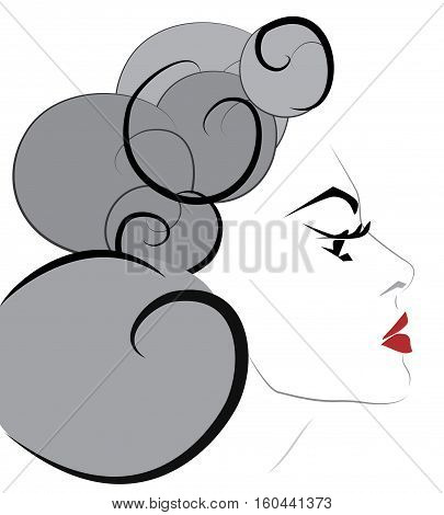Portrait of a Beautiful Woman with Red Lipstick and Curly Hair