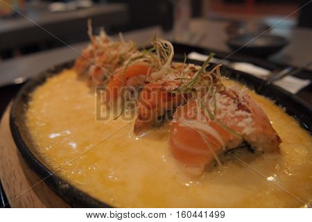 Premium Japanese Cheesy Salmon Roll Hot Plate, Tokyo, Japan