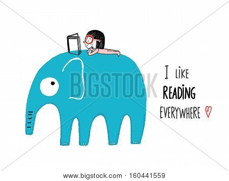 I Like Reading Everywhere. Girl with a book on an elephant hand drawn vector illustration