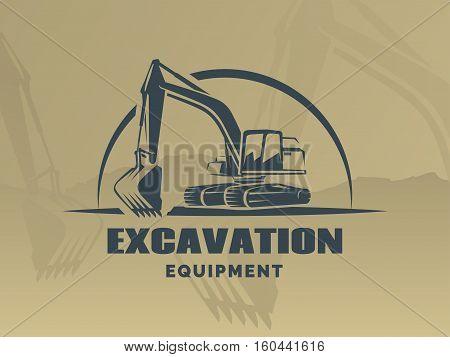 Excavator logo on brown background. Vector illustration.