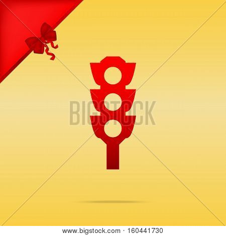 Traffic Light Sign. Cristmas Design Red Icon On Gold Background.
