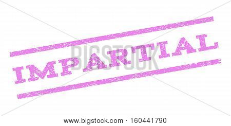 Impartial watermark stamp. Text tag between parallel lines with grunge design style. Rubber seal stamp with dust texture. Vector violet color ink imprint on a white background.
