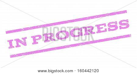 In Progress watermark stamp. Text tag between parallel lines with grunge design style. Rubber seal stamp with dirty texture. Vector violet color ink imprint on a white background.