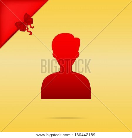 User Avatar Illustration. Anonymous Sign. Cristmas Design Red Ic