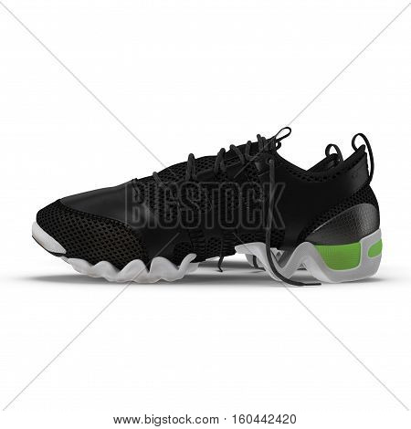 Unbranded modern sneakers isolated on a white background. Side view. 3D illustration
