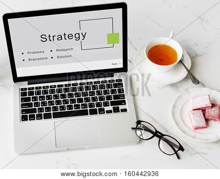 Strategy Business Startup Goals Concept