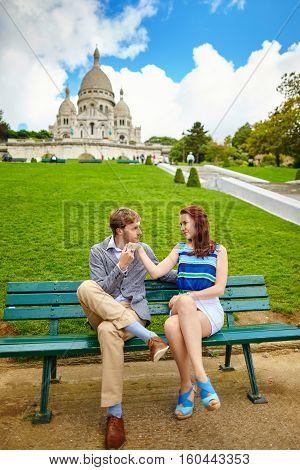 Loving Couple Near The Sacre-coeur In Paris