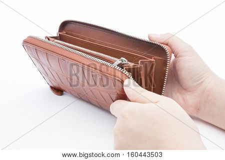 A Closeup to An Empty Wallet with woman hand