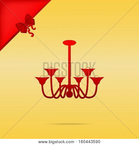 Chandelier Simple Sign. Cristmas Design Red Icon On Gold Backgro