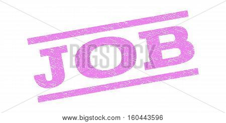 Job watermark stamp. Text caption between parallel lines with grunge design style. Rubber seal stamp with dirty texture. Vector violet color ink imprint on a white background.