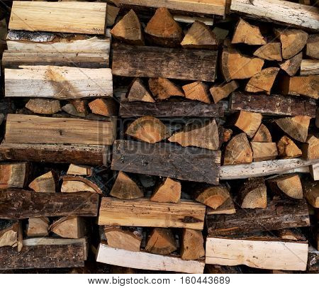 Dry Firewood neatly stacked in the woodpile. Background