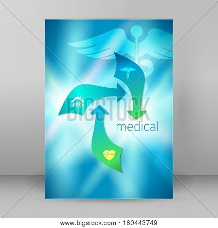 Blue medical background abstract - concept health care or medicine technology. Vector Illustration EPS 10 Graphic Design elements vertical banner flyer dental service presentation template brochure