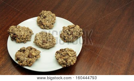 Healthy Banana Oatmeal Cookies On White Plate