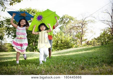 Kite Kid Child Casual Cheerful Leisure Outdoors Concept