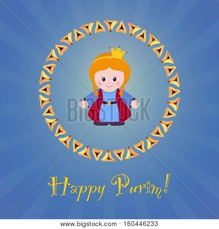 Jewish holiday of Purim. Greeting card with Esther. Happy Purim. Vector illustration of fun characters in cartoon style on blue background.