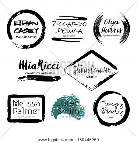 Set of Makeup Artist design logo templates. Handdrawn black mascara textured frames isolated on white background. Creative fashion stylist emblem. Perfect for logotype and business card.