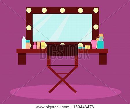 Interior dressing room actress or singer. Vector illustration