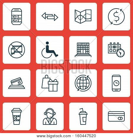 Set Of 16 Traveling Icons. Can Be Used For Web, Mobile, UI And Infographic Design. Includes Elements Such As Accessibility, Call, Disabled And More.