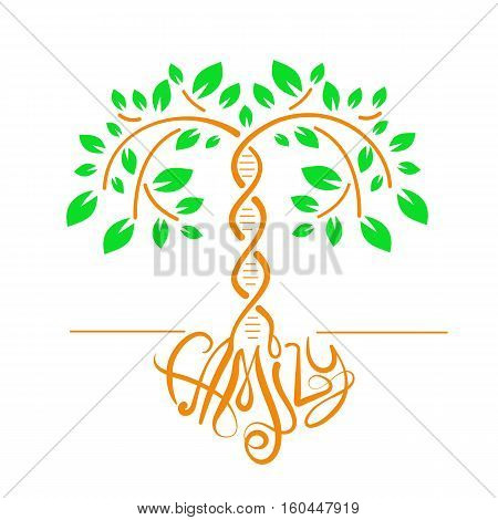 Icon of a tree with a trunk DNA as a concept of family