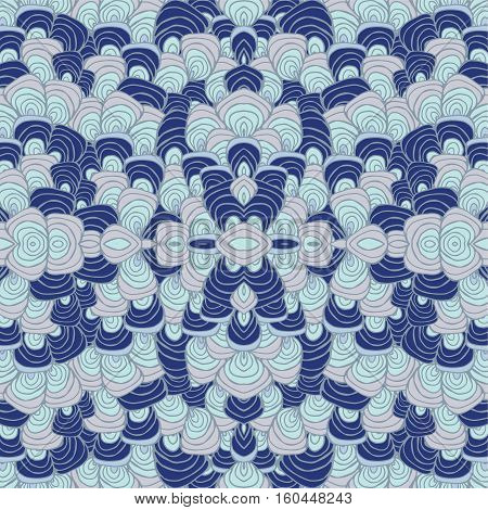 stock vector blue wave orient seamless pattern