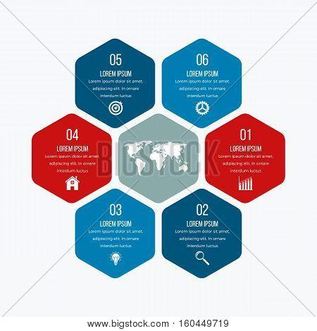 Vector illustration infographics six hexagons. Stock vector