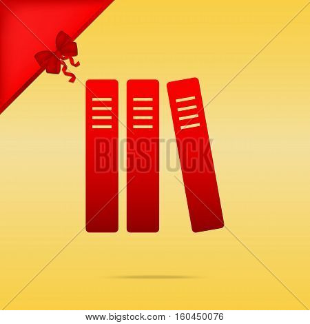 Row Of Binders, Office Folders Icon. Cristmas Design Red Icon On