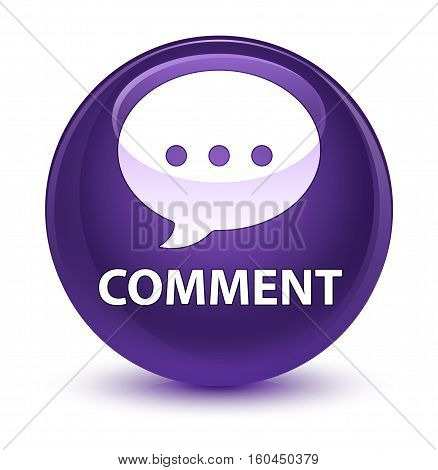 Comment (conversation Icon) Glassy Purple Round Button