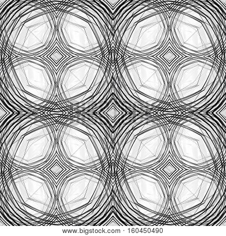 Seamless line pattern. Intersecting black dashed circles on a white background. Hand-draw effect.