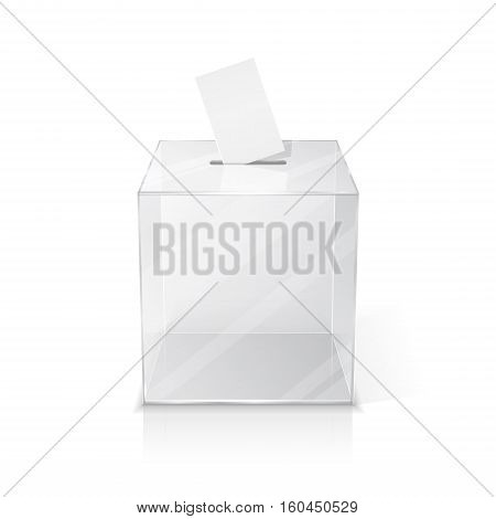Realistic empty transparent ballot box with blank voting paper. Isolated illustration on white background