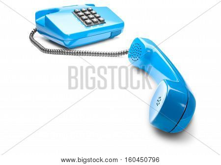 Landline phone on isolated background with a shadow