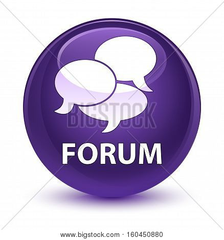 Forum (comments Icon) Glassy Purple Round Button