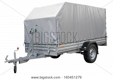 Car trailer isolated on a white background.