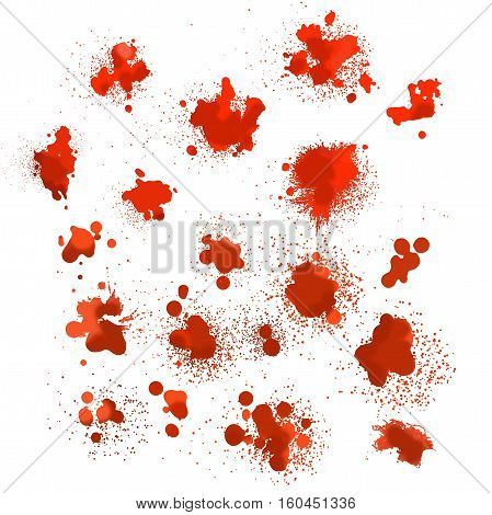 set of blood spots of different shapes Stock Image