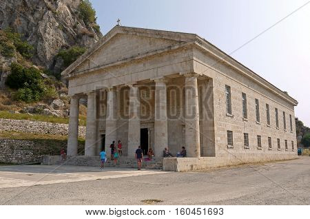Beautiful view of Temple of Artemis, Corfu. GREECE.
