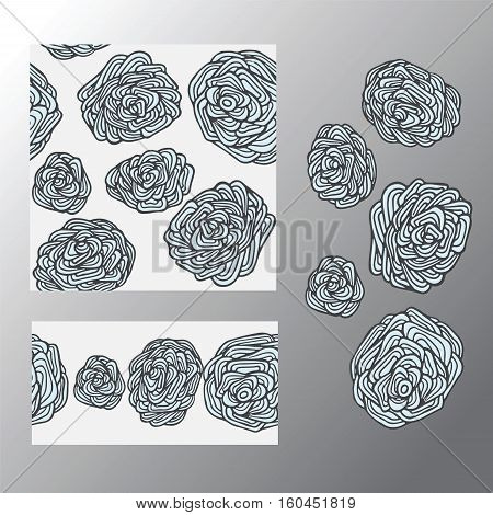 stock vector set of seamless doodle pattern with flowers and waves. oriental backgraund. big rose